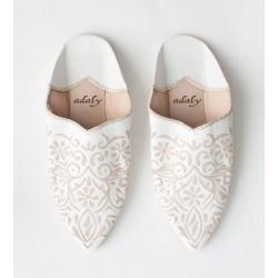 Engraved Slippers White