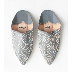 Engraved Slippers Grey