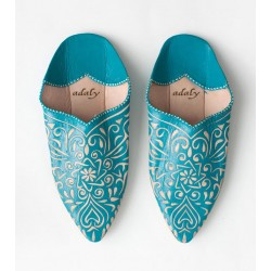 Engraved Slippers Turquoise